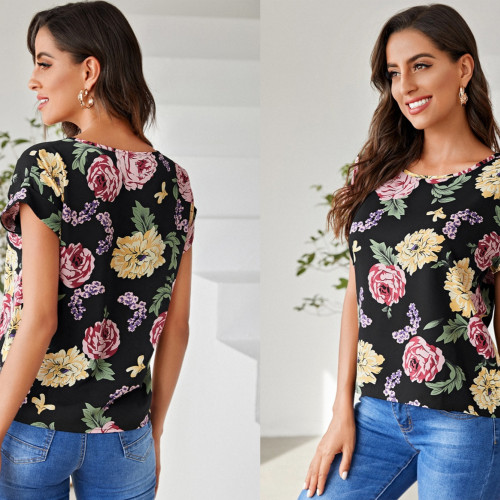 Allover Floral Batwing Sleeve Blouse