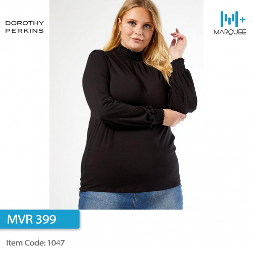 Dorothy Perkins Curve Black Shirred Top (Size: UK 18)
