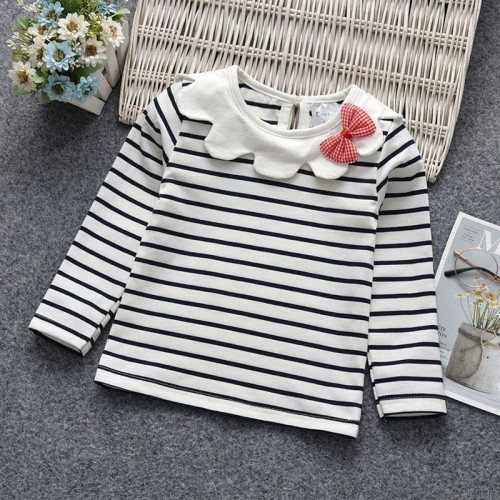 Girls Long Sleeve Striped Solid Bowknot Top