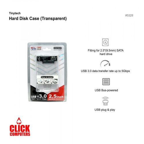 TINYTECH USB-HD32505S Sata USB 3.0 Hard Disk Enclosure (Transparent)