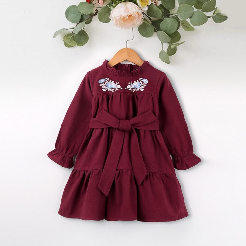 Baby Embroidery Frill Decor Elastic Cuff Belted Patchwork Dress Baby Fashion Princess Style
