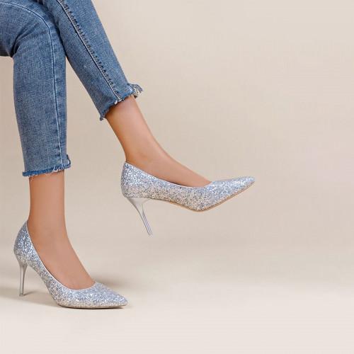 Allover Glitter Decor Stiletto Court Heels