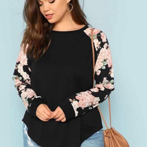 Floral plus size raglan sleeve top