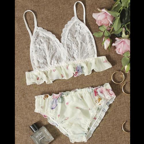 SHEIN Floral Print Contrast Lace Chiffon Lingerie Set