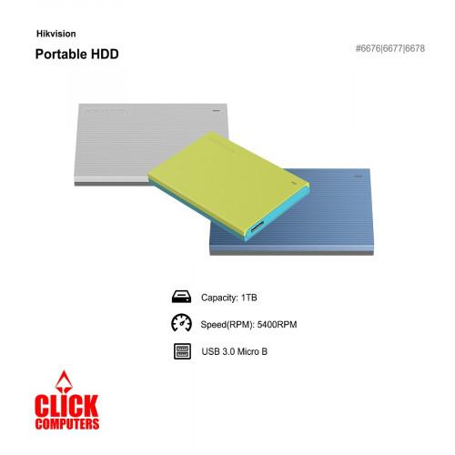 Hikvision Light USB 3.0 1TB External Hard Disk Gray/Green/Blue T30