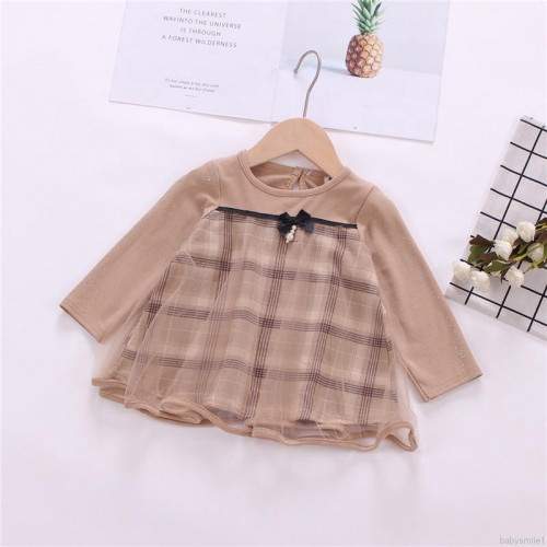Girls Casual Plaid Pattern Long Sleeve Patchwork Dress