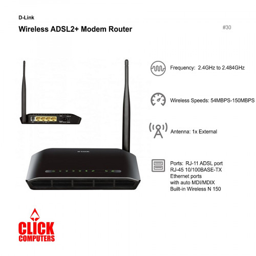 D-Link DSL-2730E Wireless N 150 ADS L 2 / 2+ Wireless  Modem Router(2.4GHz to 2.484GHz/54MBPS-150MBPS)