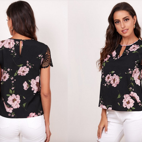 SHEIN Floral Keyhole Neck Lace Sleeve Top