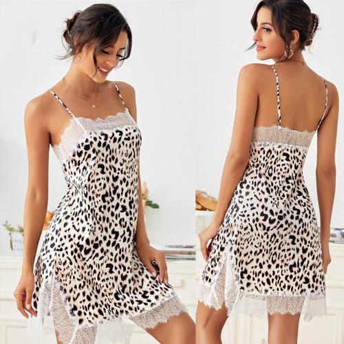 SHEIN Leopard Contrast Lace Cami Night Dress
