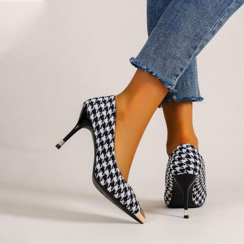 Houndstooth Graphic Stiletto Court Heels