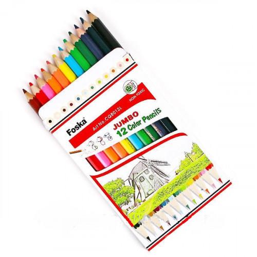 Hexagonal Jumbo Colour Pencils 12