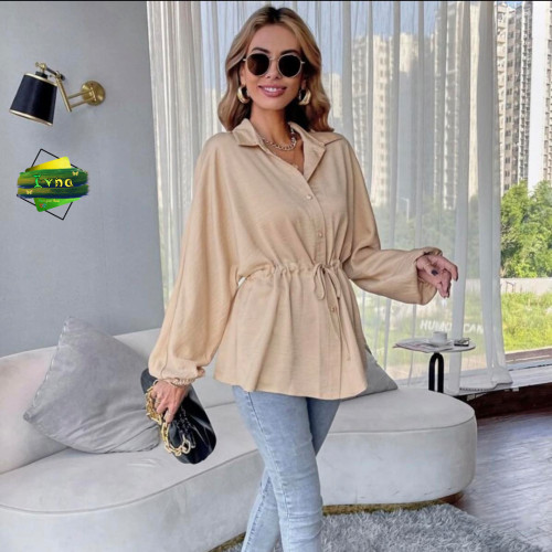 Solid Button Front Drawstring Bishop Sleeve Blouse