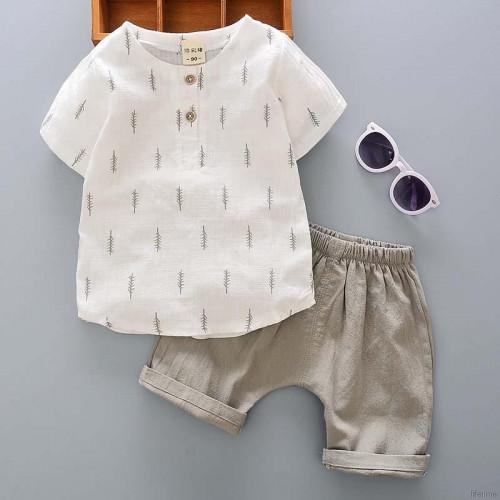 Boys Short Sleeve T shirt Shorts Pants 2pcs Clothes Set Cotton Shirt + Shorts