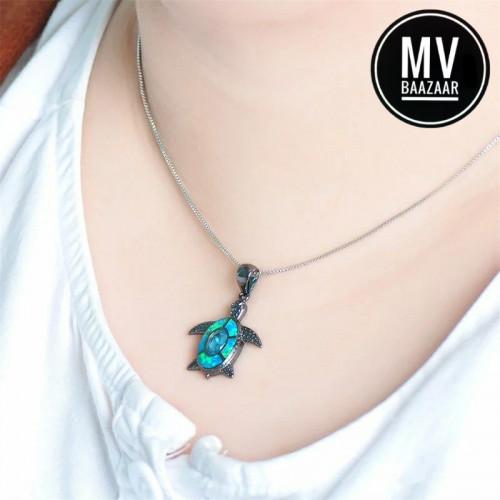 Turtle Blue Beach Theme Pendant Necklace for Nature Lovers Love Gift Ladies Women Girl Friend Maldives Sea Cute
