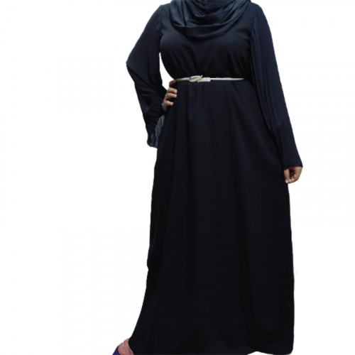 Modest Abaya Pleated Sleeve seperate belt ( Black )