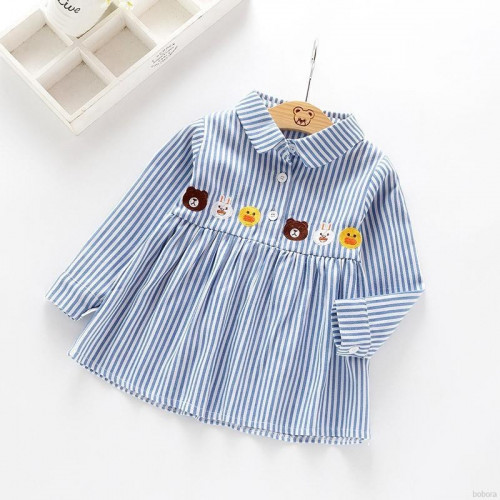 Korean Fashion Child Clothing Baby Girls Striped Embroidery Long-sleeved Casual Shirt