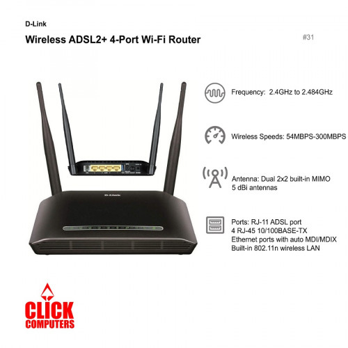 D-link DSL-2750E Wireless N300 ADSL 2+ Modem Router (2.4GHz to 2.484GHz/54mbps to 300mbps)