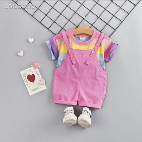 Kids Rainbow Print Tops & Suspender Pants