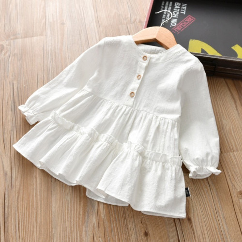 Korean style Kids Girls Long Sleeve Button-down Dress
