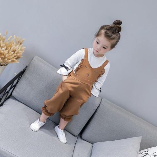 Korean Fashion Baby Girl Suspender Pants Children Cotton Cartoon Pattern Pants