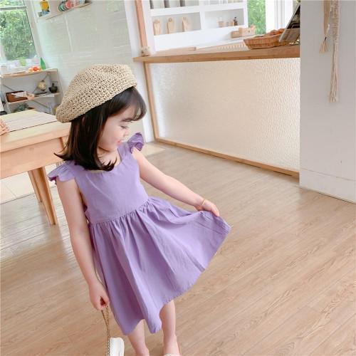 Korean Fashion Girls dress, fly sleeve, backless purple dresses