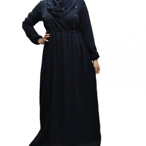 Abaya with buttons and adjustable belt
