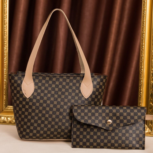 Geometric Pattern Tote Bag With Flap Clutch Bag