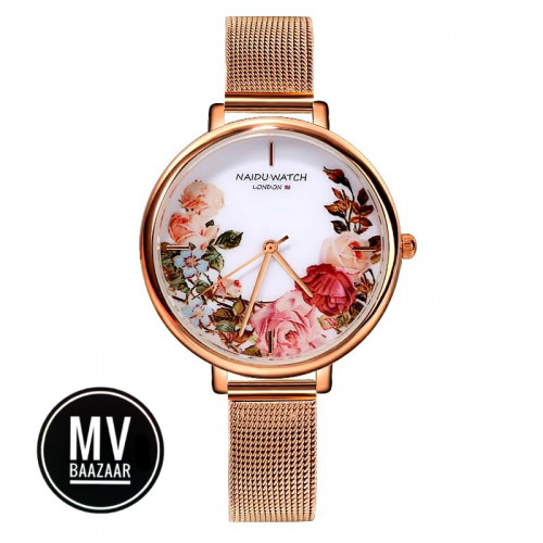 Ladies Wrist Watch Floral Flower Time piece Fashion Women Rose Gold watches Elegant Clock Gift Suprise Love