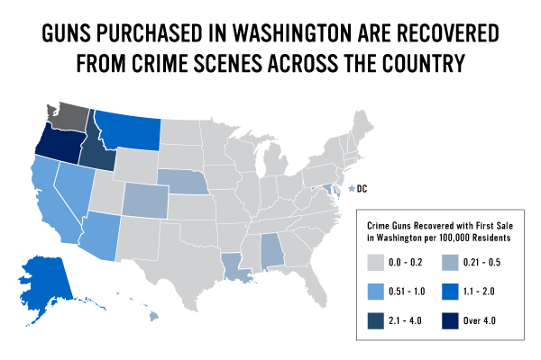 Destinations of Crime Guns Trafficked to Other States