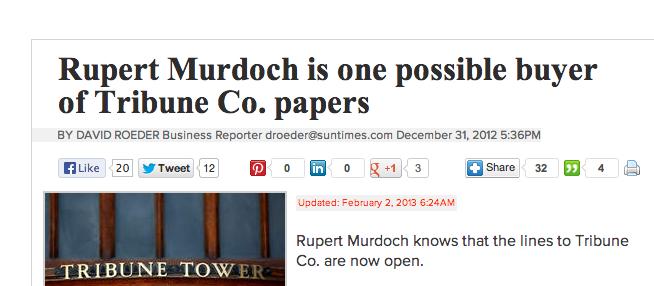Rupert Murdoch is one possible buyer of Tribune Co. papers