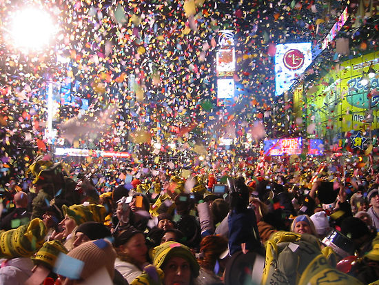 People celebrating in Times Square.