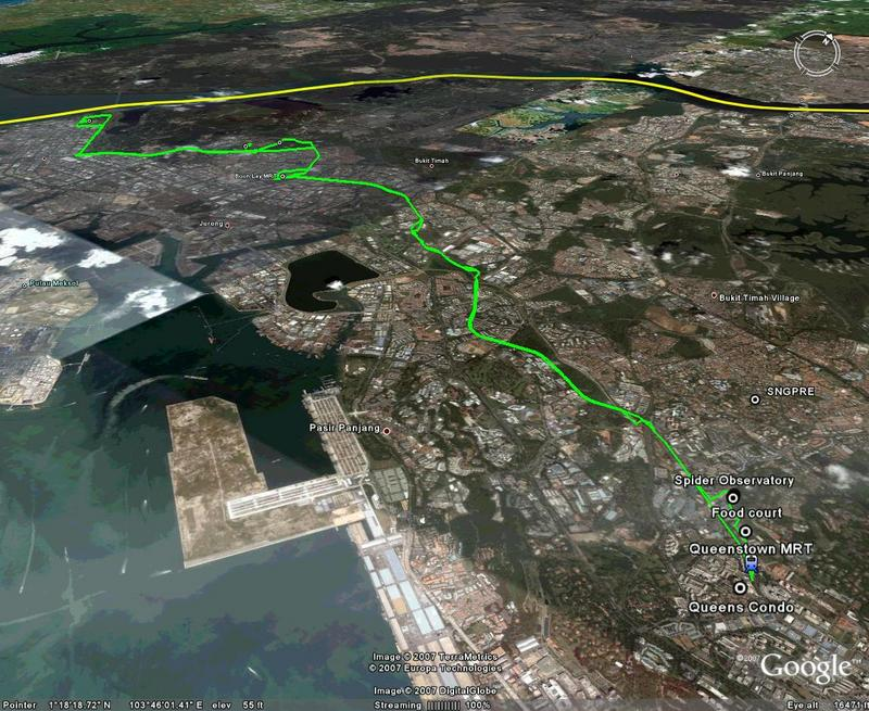 GPS tracks to Tuas