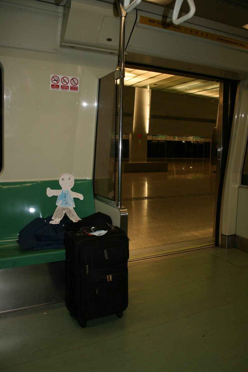 Flat Jacob going to grandpa's on the MRT