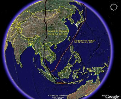 Asia flight paths