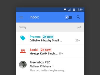Free Google Inbox App Photoshop PSD