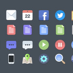 24 PSD Flat Icons for Free