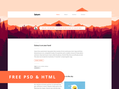 Saturn – Free PSD & HTML Blog Template