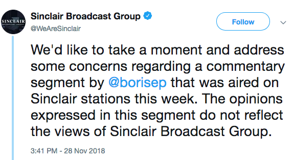 Sinclair Broadcast Group Tweet