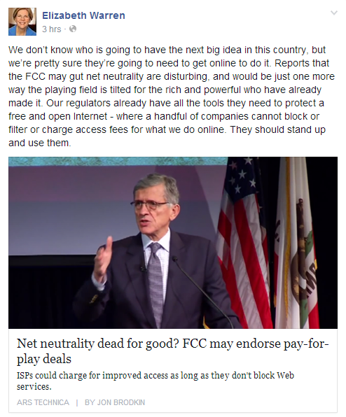 Senator Elizabeth Warren Facebook post on Net Neutrality