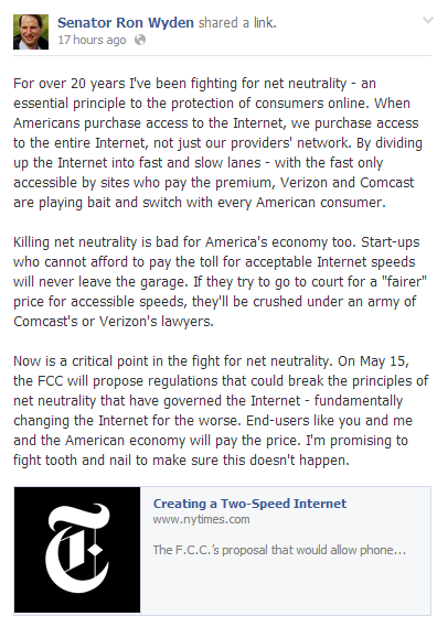 Senator Ron Wyden Facebook post on Net Neutrality