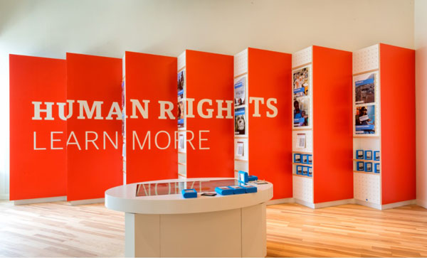 """A display that reads """"Human Rights Learn More"""""""