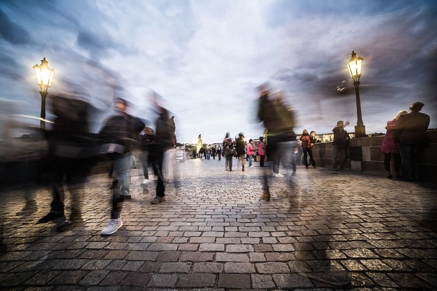 Chaotic People on Charles Bridge in Prague