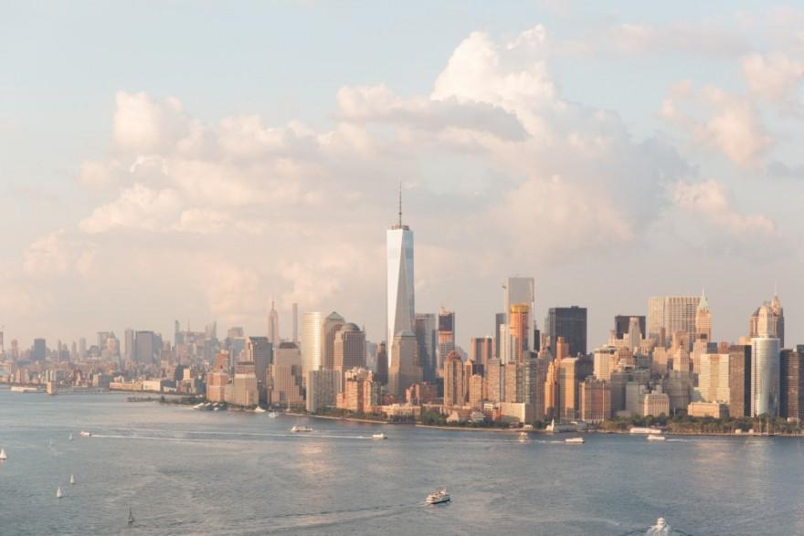 New York City, Skyline, Water, Clouds