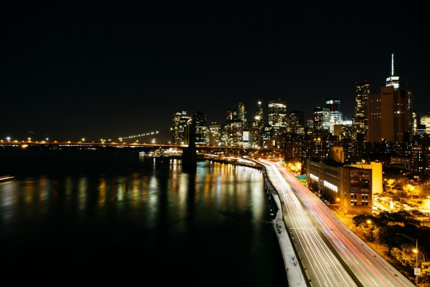 New York City, Night, Cars