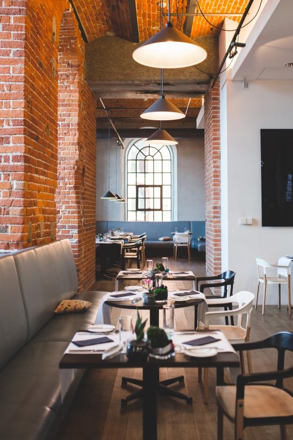 Interior of vintage restaurant chairs design