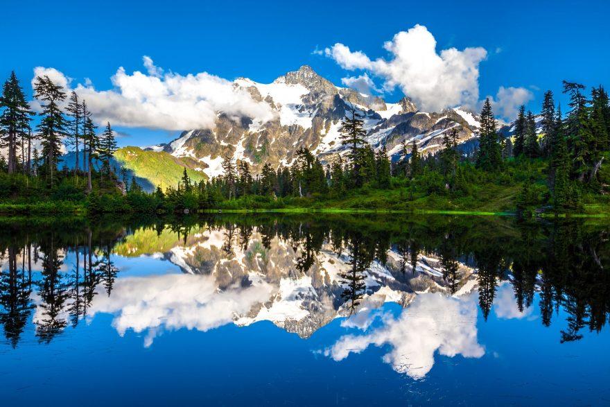 Picture Lake reflections landscape around Mount Baker, Washington