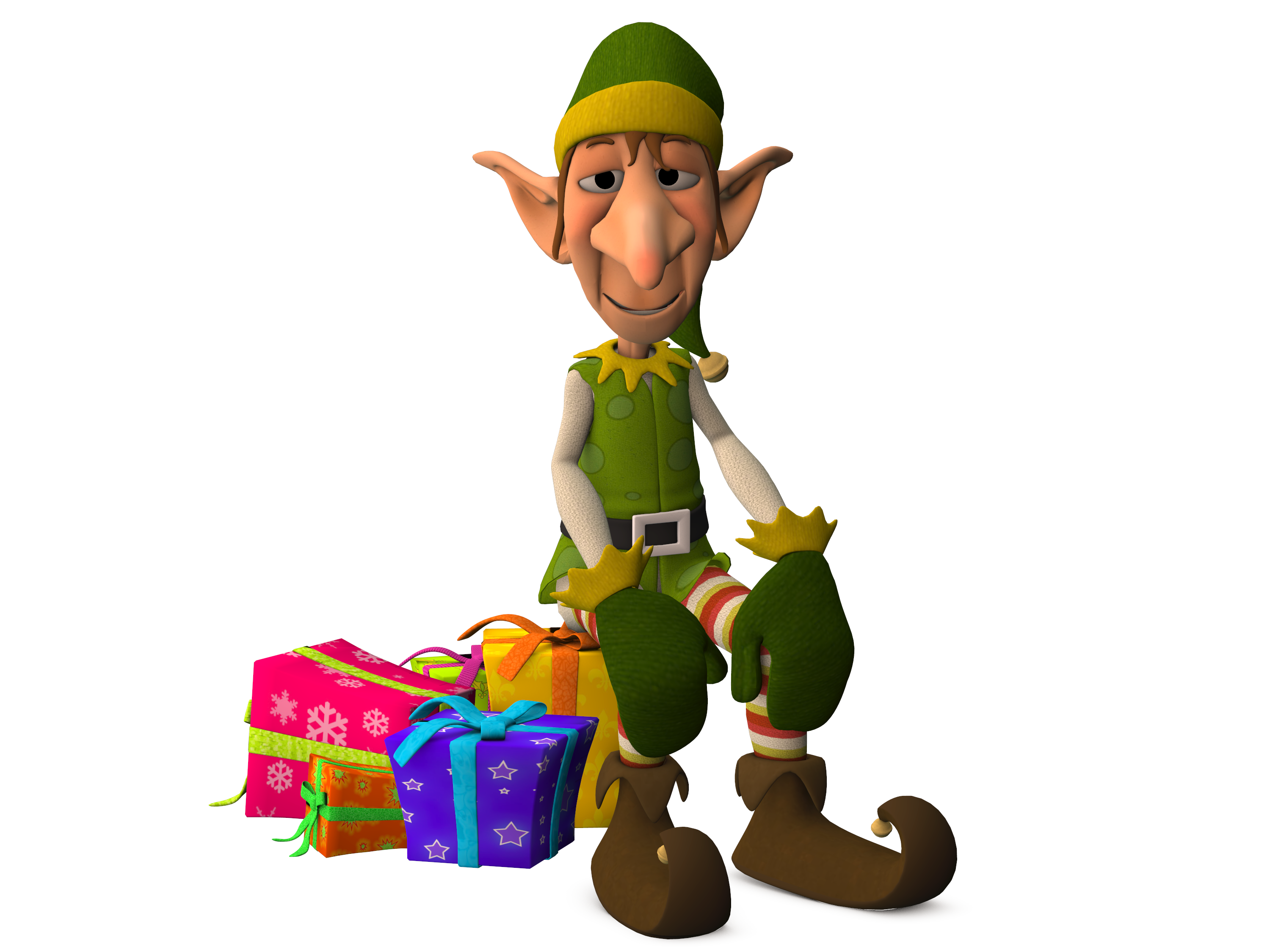 Christmas Elf Sitting on Presents 3d, Characters, Christmas Elf, Elf ...