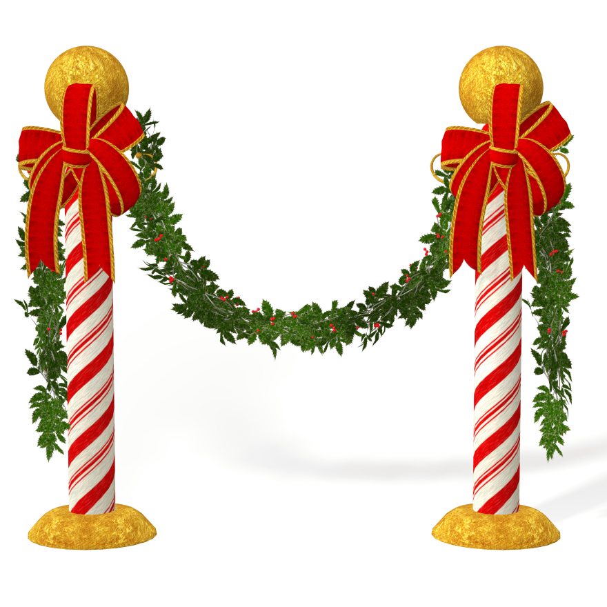 candycane poles with mistletoe christmas decorations - Christmas Pole Decorations