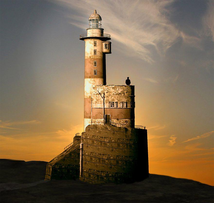 Computer Visualization of Lighthouse at Sunrise