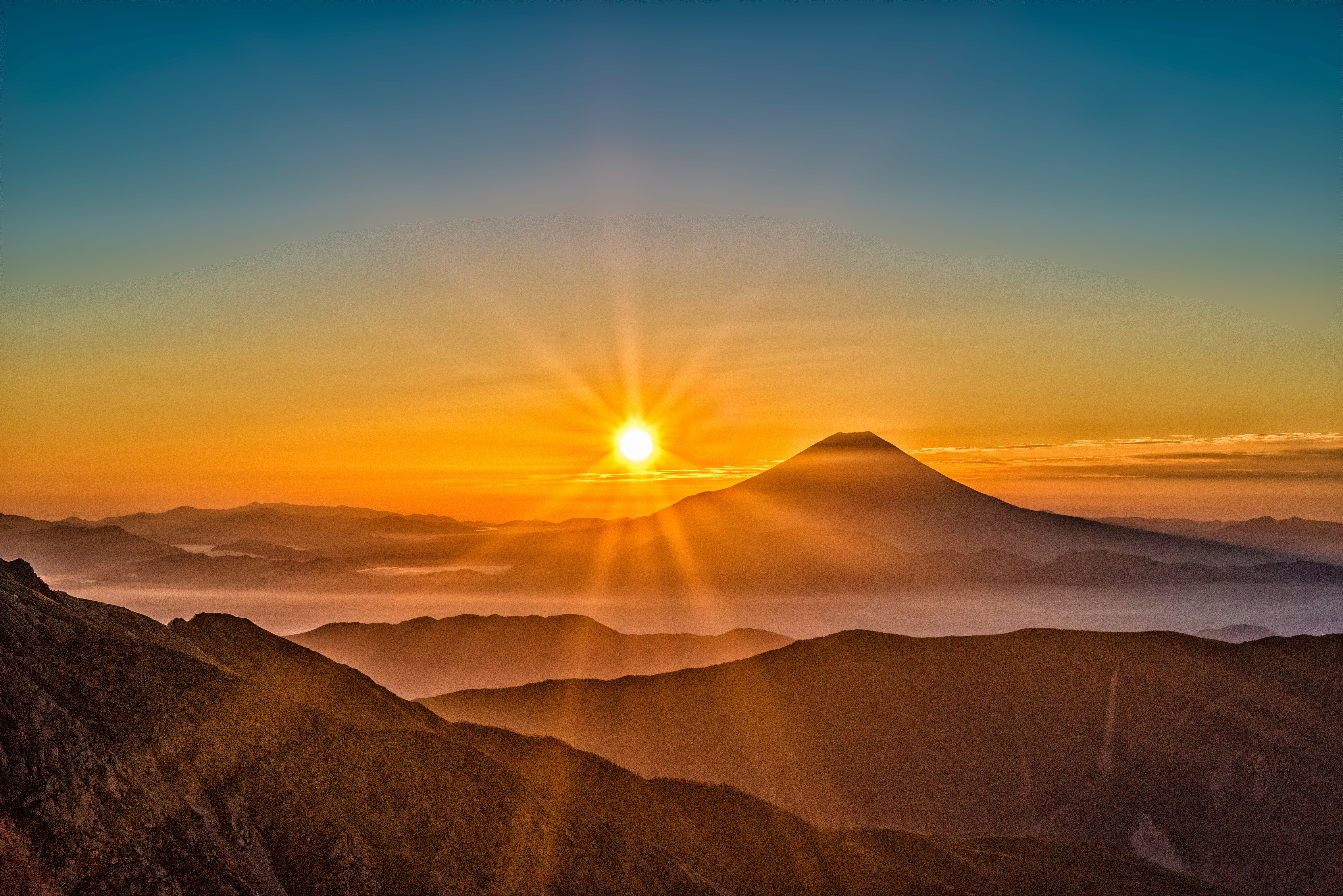 sunrise over the mount fuji in the mountain landscape japan free